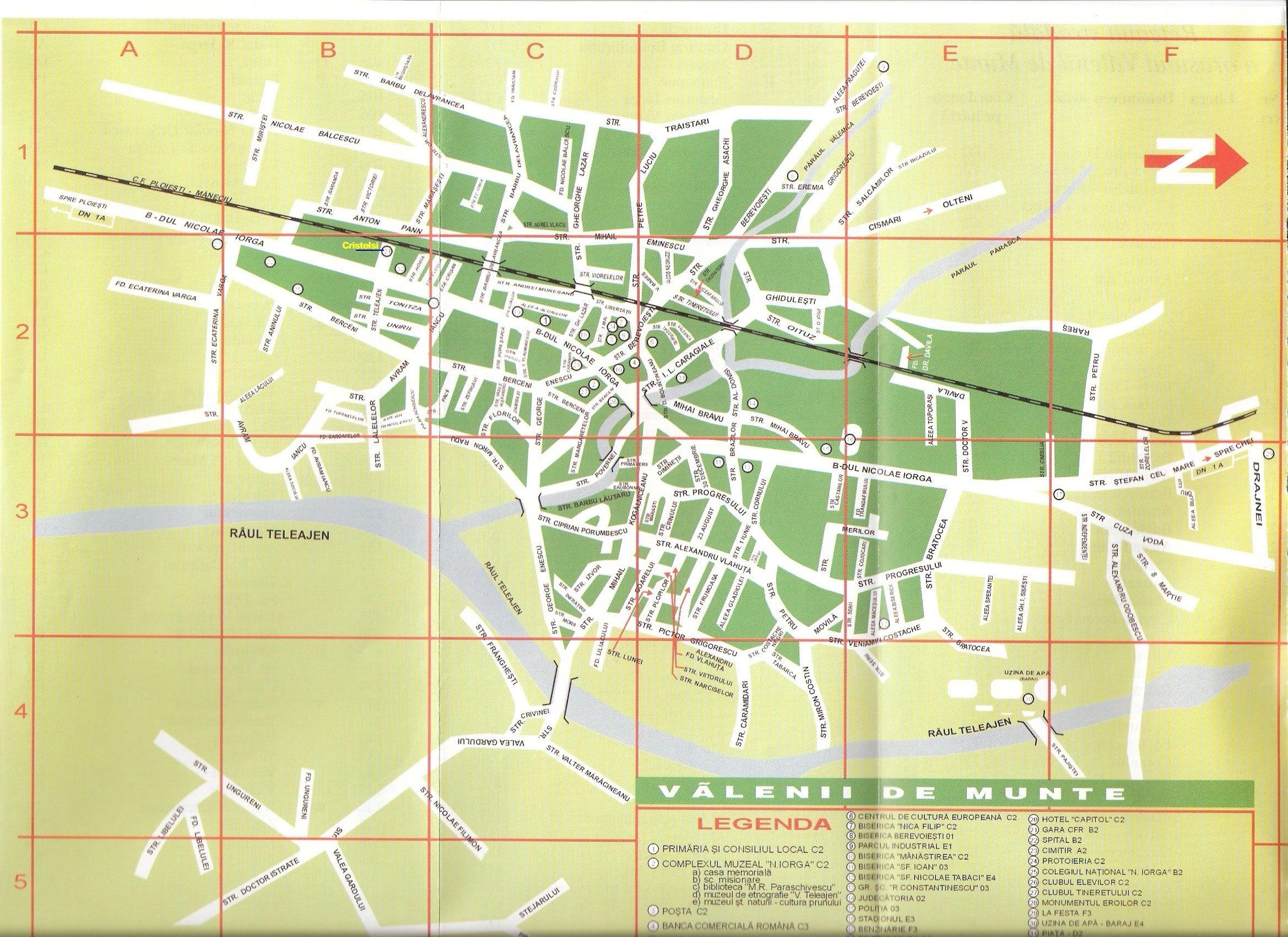 Harta Orasaului Valenii De Munte